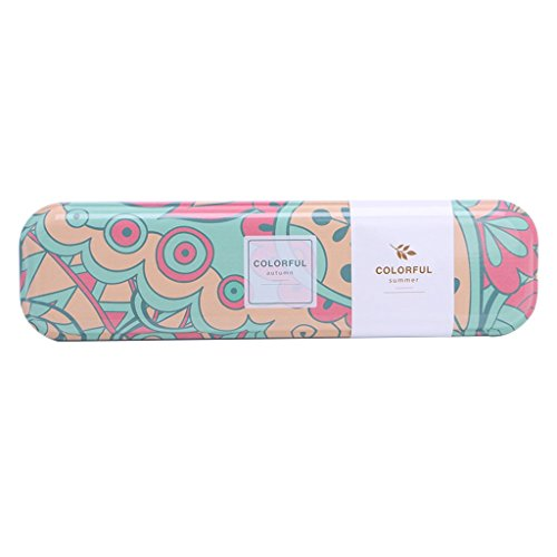 Tebatu Cute Metal Tin Pen Pencil Box School Stationary Makeup Case School Supplies Gift 20x5.1x2.2cm/7.87x2.01x0.87