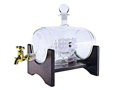 Large 40 Oz 'Barrel' Handmade Whisky Dispenser Liquor Decanter with Ship inside, Wooden Stand and Bar Funnel