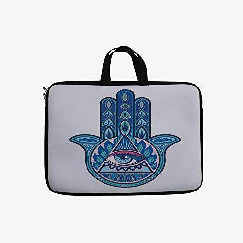 3D Printed Double Zipper Laptop Bag,Hand with Evil Eye in Triangle Esoteric East Cure,17 inch Canvas Waterproof Laptop Shoulder Bag Compatible with 17