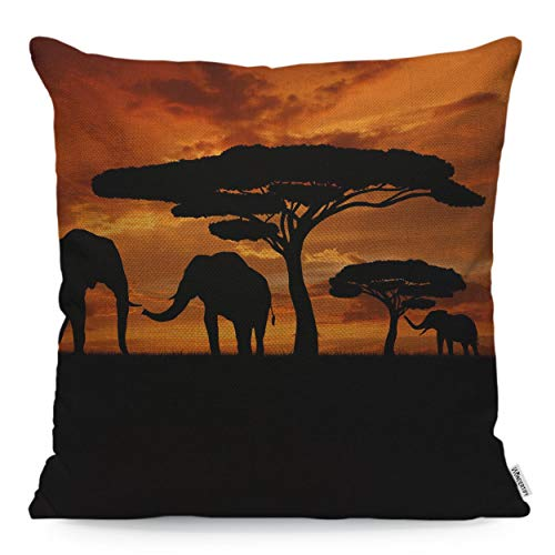 Sunset Linen - WONDERTIFY Throw Pillow Cover Case African Animal Elephants Family Walk Sunset,Soft Linen Pillow Case for Decorative Bedroom/Livingroom/Sofa/Farm House,Couch Pillow Cushion Covers 18x18 Inch 45x45 cm