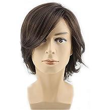 BERON Men's Medium Style Wavy Bouncy Side Swept Fringe Bang Hairstyle Wig with Wig Cap Dark Brown