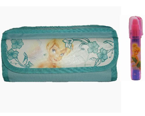 Tinkerbell Erasers - Disney Tinkerbell Double Zipper Pencil Case Teal with Eraser