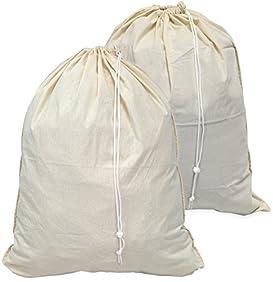 2 Pack - SimpleHouseware Extra Large 100% Cotton Laundry Bag, Beige (28