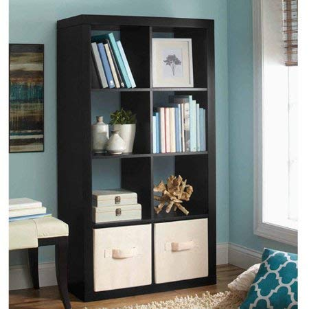 Better Homes and Gardens Furniture 8-Cube Room Organizer in Solid Black Finish + Include Free 2-Piece Storage Bins from Better Homes & Gardens