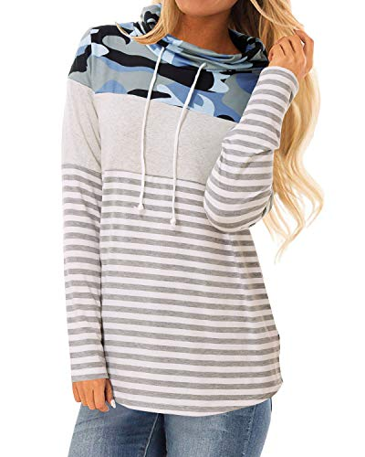 Long Sleeve Tops,Womens Fall Clothings Color Block Striped Camouflage Tunic High Neck Sweatshirt Tunic with Pockets Blue L ()