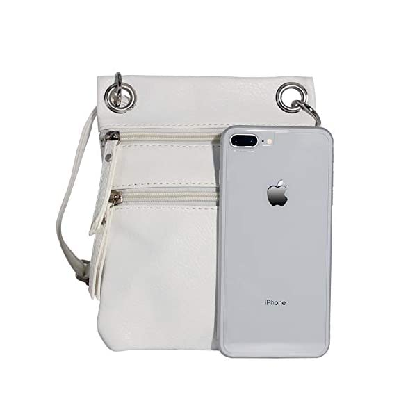 Tibes Sac téléphone Femme Sacs bandouliere Sac Epaule Filles iPhone 6/6 Plus iPhone 7/7 Plus, A Blanc, Small