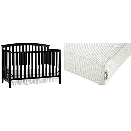 Graco Freeport 4 In 1 Convertible Crib Black With Graco Natural Organic Foam Crib And Toddler Mattress