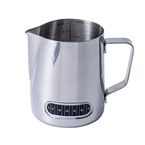 Pitcher Thermometer Frothing - Milk Frothing Pitcher 20oz with Thermometer Espresso Steaming Frothing Cup with Internal Measurement Perfect for Espresso Machines and Latte Cappuccino Art, Coffee Fest Family office Commercia
