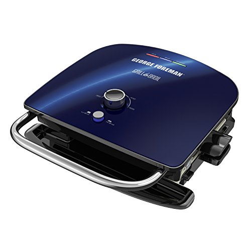 George Foreman GBR5750SCBQ Grill & Broil 7-in-1 Electric Indoor Grill, Broiler, Panini Press, and Waffle Maker, Removable Plates, Blue