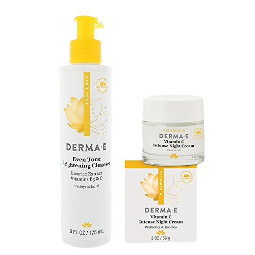 DERMA E Even Tone Brightening Cleanser and Vitamin C Intense Night Cream Bundle With Licorice Extract, Green Tea, Bearberry, Probiotics, Evens Skin Tones, Fine Lines, 6 oz and 2 oz each