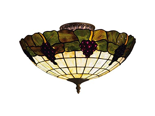 Three Tiffany Grapevine Light - Elk 931-Va Grapevine 3-Light Semi-Flush Mount, 8-Inch, Vintage Antique