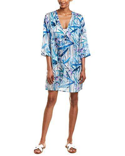 Gottex Women's V-Neck Shirtdress Swimsuit Cover Up, Exotic Paradise Multi Blue, Medium