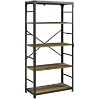 WE Furniture AZS64AIRO Mixed Material Bookshelf, Rustic Oak