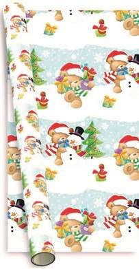Cute Christmas Pictures.10m 2x5m Cute Christmas Gift Wrapping Paper Santa Teddy Snowman Snow Scene