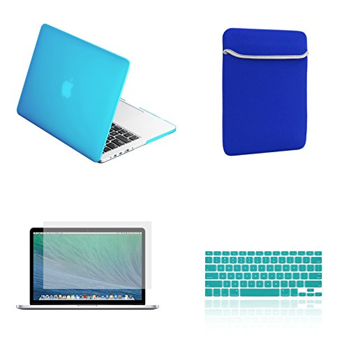 TOP CASE - Rubberized Hard Case for Old Generation 13-Inch Macbook Pro A1278(NOT FOR RETINA DISPLAY)Bundle with Sleeve, Silicone Keyboard Cover, Clear Screen Protector and Mouse Pad - Aqua Blue