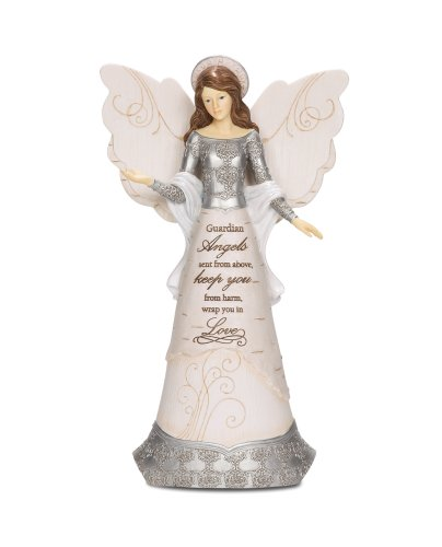 Pavilion Gift Company Elements 82310 Guardian Angel Collectible Figurine, Angel with Halo, 9-Inch