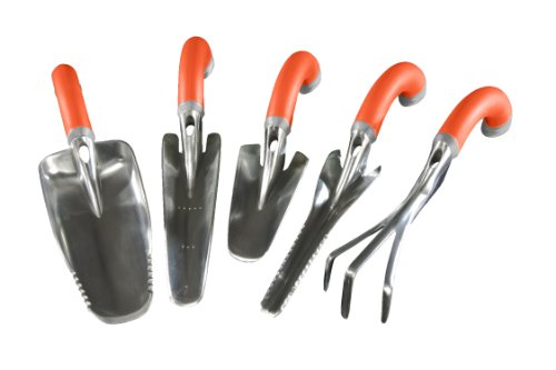 Radius garden 5 piece orange ergonomic hand tool set for Gardening tools malaysia