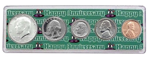 1969-50 Year Anniversary Year Coins Set in Happy Anniversary Holder - Set Coin Holder