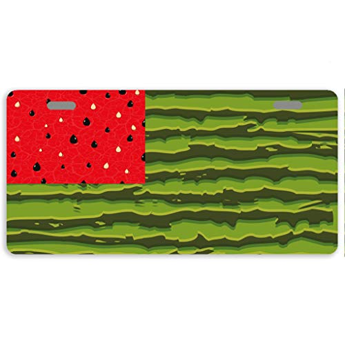 Eprocase Metal License Plate Cover Watermelon American Flag Novelty License Plate Decorative Automotive Tag Sign Car Tags 2 Holes, 11.8 x 6.1 Inches