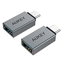 AUKEY USB C to USB 3.0 Adapter (2-Pack) Mini USB Type C Adapter Aluminum for MacBook Pro 2018 2017, Google Chromebook Pixelbook, Samsung Galaxy S9 S8 Note8, Google Pixel 2/2XL (Grey)