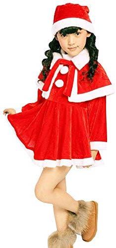 (エスライフ)S-Lifeeling クリスマス服 コスプレ サンタクロース かわいい クリスマス帽子 ショール ワンピース コスチューム 長袖 子供服 女子服 マジックテープ ロンパース ポンチョ 3点セット