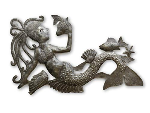 "Talking with Fish, Mermaid, Artistic Haiti Metal Steel Drum Art 17"" x 10"""