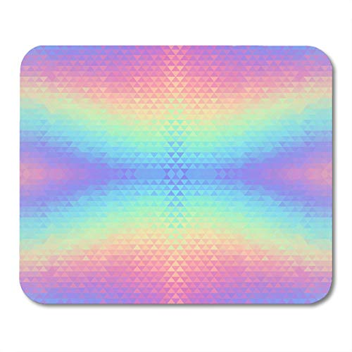 Emvency Mouse Pads Blue Unicorn Abstract Holographic Hologram Vibrant Pattern Triangular Geometric 80S and 90S Pink Hipster MousePad 9.5