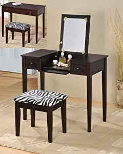 2 pc espresso finish wood bedroom make up - Amazon bedroom chairs and stools ...
