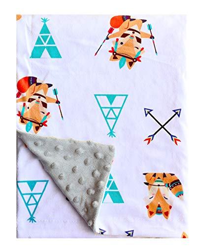 Minky Blanket Baby Soft Fox Baby Blanket Fleece for Boys Girls for Nursery Stroller, Crib 30