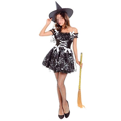Anime Witch Dress Up (KODH New Off-The-Shoulder Halloween Dress Cosplay Stage Costume Anime Demon Witch Dress Up Halloween Game Uniform Costume (Color :)