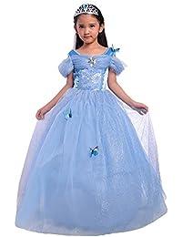 Girls Princess Cinderella Costume Dress Halloween Party Fancy Dress