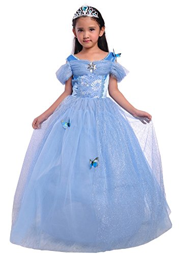 Halloween Costumes With A Blue Dress (Dressy Daisy Girls' Princess Cinderella Costume Princess Dress Halloween Fancy Dress Up Size 10 / 12)