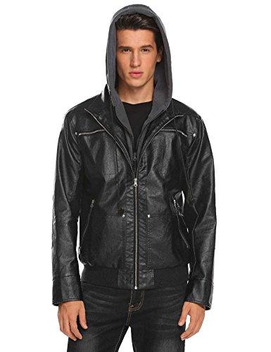 Coofandy Mens Casual Vantage Faux Leather Jacket Motorcycle Biker Coat With Fleece Hoodie Black XX-Large
