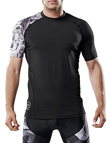 Men's Short Sleeve Compression Shirt Running Fitness Workout Base Layer Cool Dry Compression Top(Wolf,S)