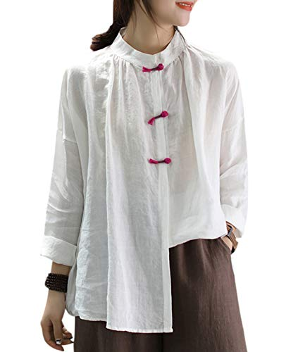 - Women Casual Blouse Tops Button Down Shirts Chinese Traditional Frogs Curved Hemline EG6