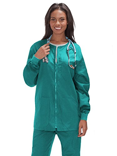 Trust Your Journey Fundamentals by White Swan Unisex Zip Front Warm Up Solid Scrub Jacket X-Small Teal