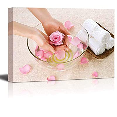 Canvas Prints Wall Art - Hand Spa/Beauty Salon Manicure Concept | Modern Wall Decor/Home Decoration Stretched Gallery Canvas Wrap Giclee Print & Ready to Hang - 24