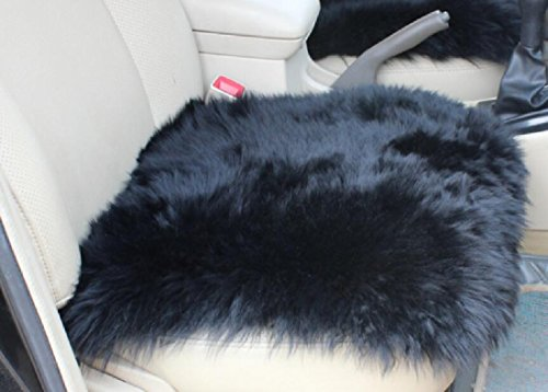 OKAYDA Square Natural Sheepskin Seat Cushion Cover 1 Pc Universal Fit Fur Cushion for Car, Chair and Armchair (Black)
