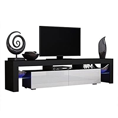 Concept Muebles TV Stand Milano 200 Black Body/Modern LED TV Cabinet/Living Room Furniture/Tv Cabinet fit for up to 90-inch TV Screens/High Capacity Tv Console for Modern Living Room (Black & White)
