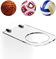 TOBWOLF Sports Ball Holder, Clear Acrylic Wall Rack for Basketball Football Soccer Volleyball Rugby, Wall Moun