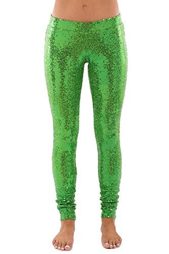 Tipsy Elves Women's Shiny Holiday Sequin Leggings (Green, Small) ()