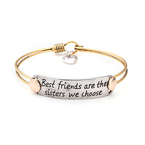 UNQJRY Graduation Gifts for Girls Friendship Bracelet for Women Inspirational Engraved Personalized Gifts for Girls Best Friends are Sisters We Choose