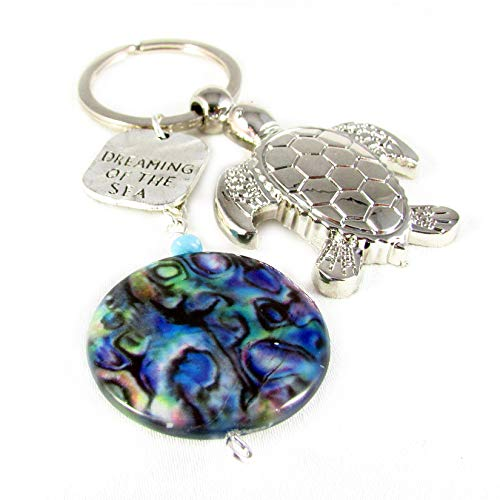 Silver Sea Turtle and Abalone Shell Keychain ()