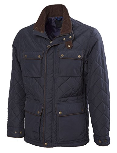 VEDONEIRE Mens Quilted Jacket (3037) NAVY with leather trim quilt padded coat (S (chest 35-37 - Tape Shipping Staples