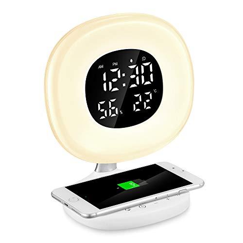 - PAVLIT D7 LED Wake-up Light Sunrise Alarm Clock with Wireless Charging Function