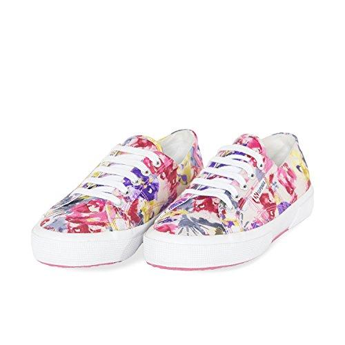 Superga Damen 2750-Fabricsplashedw Sneaker Multicolore (Flowery Fuxia/Yellow)