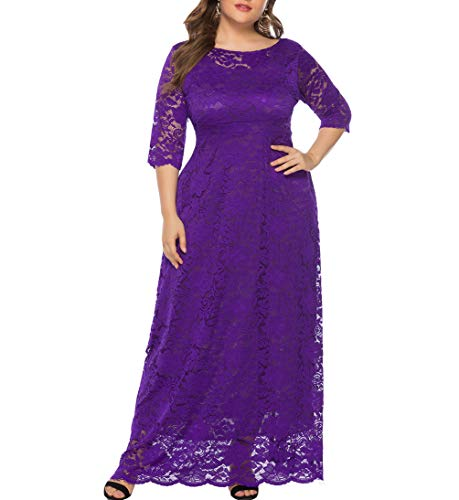 Eternatastic Womens Floral Lace 2/3 Sleeves Maxi Dress Evening Party Long Dress XXL Purple