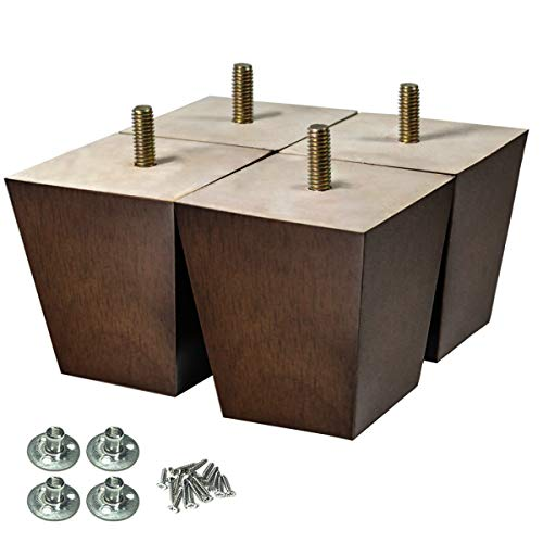 4 Sofa - AORYVIC Wood Furniture Legs 3 inch Sofa Legs Pack of 4 Square Couch Legs Brown Mid-Century Modern Replacement Legs for ArmchairRecliner Coffee Table Dresser Sideboard (3 inch)