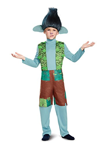 (Branch Deluxe W/Wig Trolls Costume, Multicolor, X-Small)