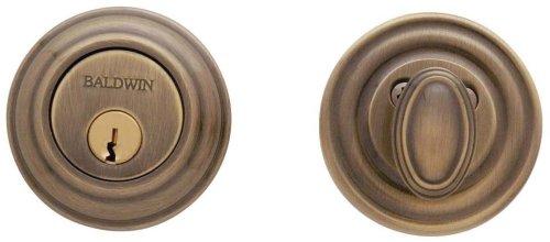 Baldwin Estate 8231.05 Low Profile Traditional Single Cylinder Deadbolt in Satin - Estate Brass Satin Latch